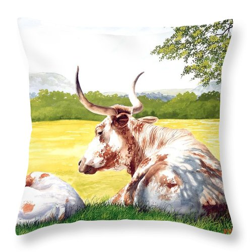 Longhorn Throw Pillow featuring the painting Morning Solitude by Howard Dubois