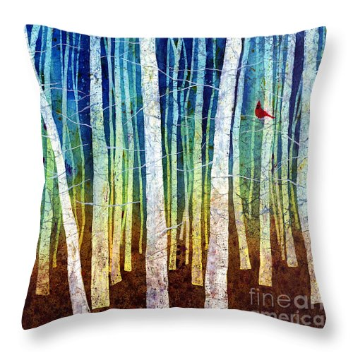 Cardinal Throw Pillow featuring the painting Morning Song I by Hailey E Herrera