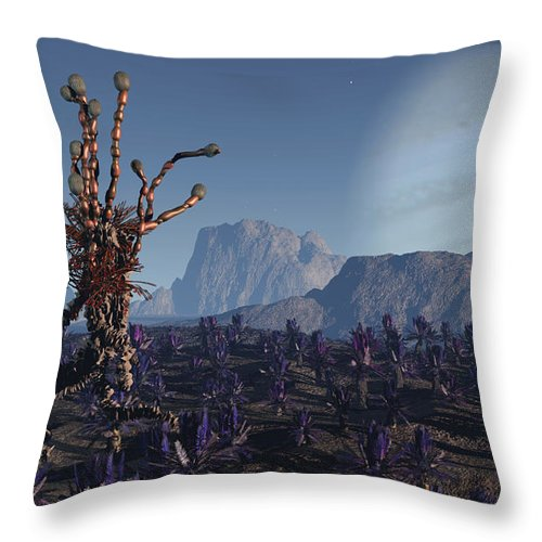Alien Throw Pillow featuring the digital art Morning Stroll by Richard Rizzo