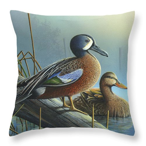 Blue-winged Teal Throw Pillow featuring the painting Morning Sun by Mike Brown
