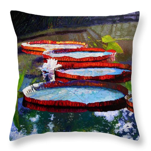 Water Lily Pond Throw Pillow featuring the painting Morning Sunlight by John Lautermilch