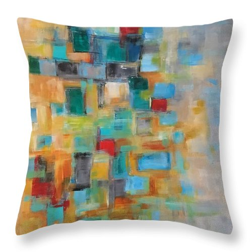 Acrylic Abstract Throw Pillow featuring the painting Morning Sunrise #2 by Suzzanna Frank