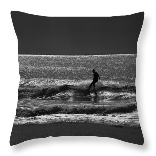 Surfer Throw Pillow featuring the photograph Morning surfer by Sheila Smart Fine Art Photography