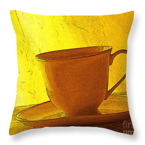 Yellow Throw Pillow featuring the photograph Morning Teacup by Jacqueline Milner
