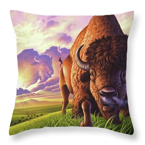 Buffalo Throw Pillow featuring the painting Morning Thunder by Jerry LoFaro