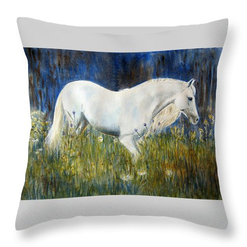 Horse Painting Throw Pillow featuring the painting Morning Walk by Frances Gillotti