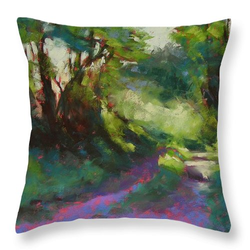 Pastel Throw Pillow featuring the painting Morning Walk II by Mary McInnis