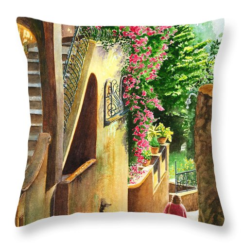 Italy Throw Pillow featuring the painting Morning Walk by Karen Fleschler