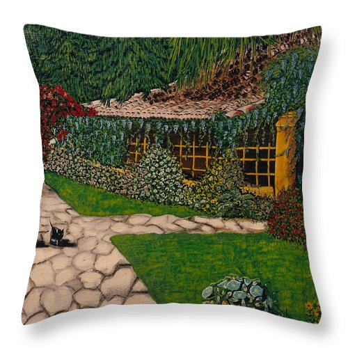 European Throw Pillow featuring the painting Morning Walk by V Boge