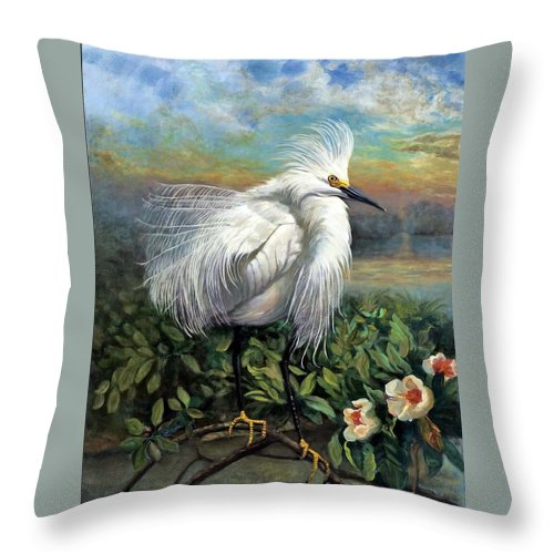Landscape Throw Pillow featuring the painting Morning Watch by Edward Skallberg