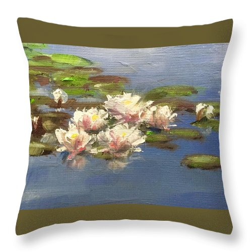 Water Lilies Throw Pillow featuring the painting Morning Water Lilies by Gary Bruton