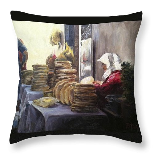 Morocco Throw Pillow featuring the painting Moroccan Breadmaker by Pamela Nichols