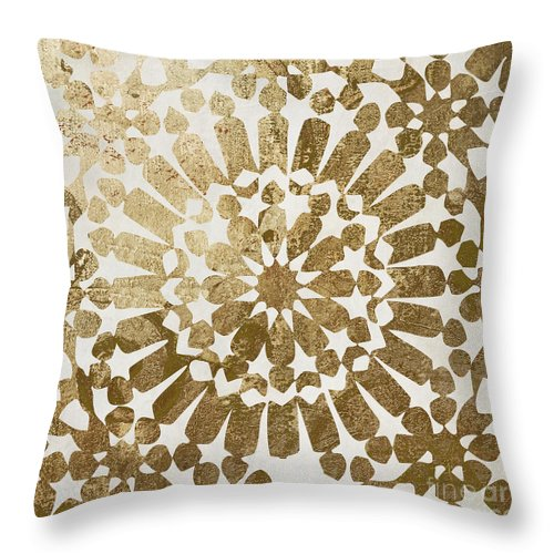 Gold Throw Pillow featuring the painting Moroccan Gold II by Mindy Sommers