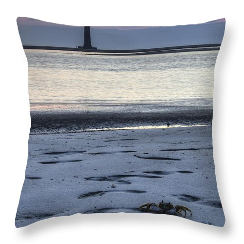 Morris Island Light House Crab Sunrise Folly Beach Lowcountry South Carolina Landscape Water Beach Throw Pillow featuring the photograph Morris Island Lighthouse And Crab by Dustin K Ryan