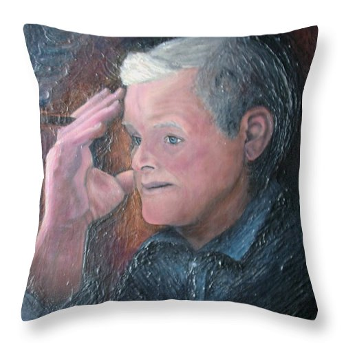 Portrait Throw Pillow featuring the painting Morris by Regina Brandt
