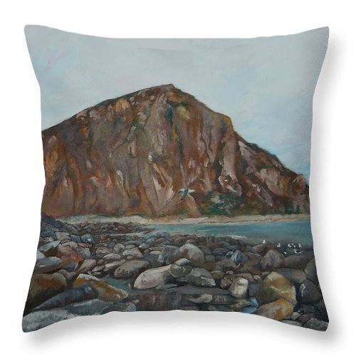 Morro Bay Throw Pillow featuring the painting Morro Rock by Travis Day