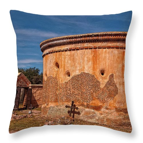 The Mortuary Chapel In Mission San Jose De Tumacacori Throw Pillow featuring the photograph Mortuary Chapel by Sandra Selle Rodriguez