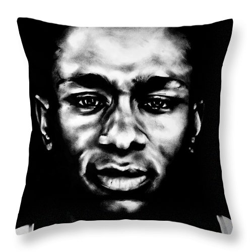 Charcoal Throw Pillow featuring the drawing Mos Def by Brian Curran