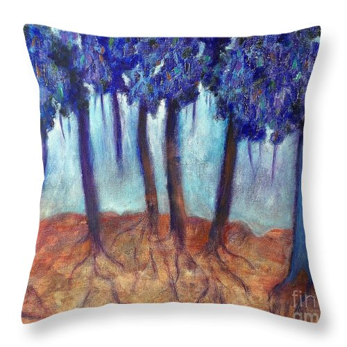 Landscape Throw Pillow featuring the painting Mosaic Daydreams by Elizabeth Fontaine-Barr