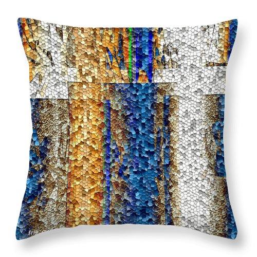 Abstract Throw Pillow featuring the digital art Mosaic Magic by Iris Gelbart