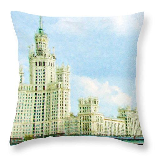 A Fragment Surface Throw Pillow featuring the painting Moscow High-rise Building by Jeelan Clark