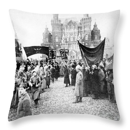 1920 Throw Pillow featuring the photograph Moscow: Red Army, C1920 by Granger