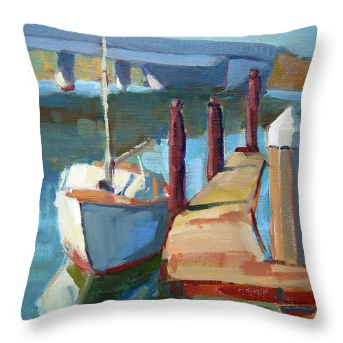 Boat Throw Pillow featuring the painting Moss Landing Morning by Sandra Smith-Dugan