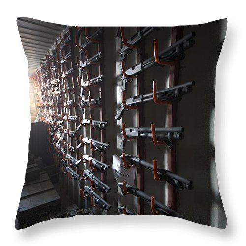 Afghanistan Throw Pillow featuring the photograph Mossberg M590 Compact Shotguns by Terry Moore