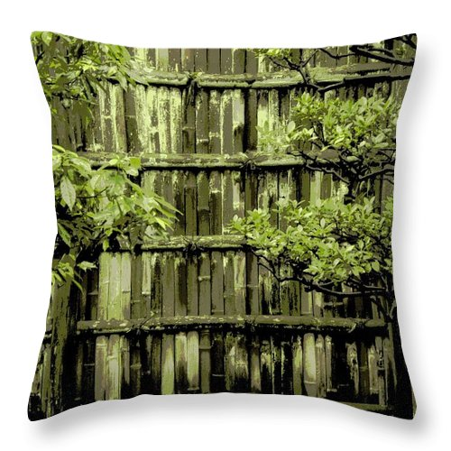 Moss Throw Pillow featuring the photograph Mossy Bamboo Fence - Digital Art by Carol Groenen