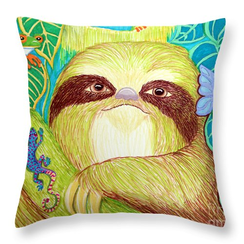 Sloth Throw Pillow featuring the drawing Mossy Sloth by Nick Gustafson