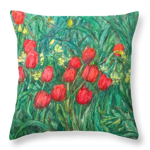 Kendall Kessler Throw Pillow featuring the painting Mostly Tulips by Kendall Kessler