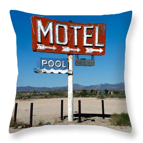 Route 66 Throw Pillow featuring the photograph Motel Sign On I-40 And Old Route 66 by Scott Sawyer