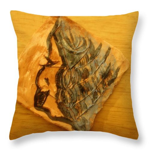 Jesus Throw Pillow featuring the ceramic art Mother - Tile by Gloria Ssali