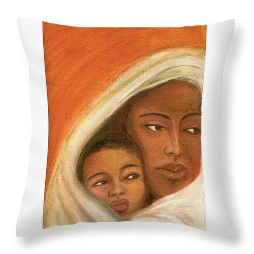 Figuretive Mother And Child Throw Pillow featuring the painting Mother And Child by Asha Sudhaker Shenoy