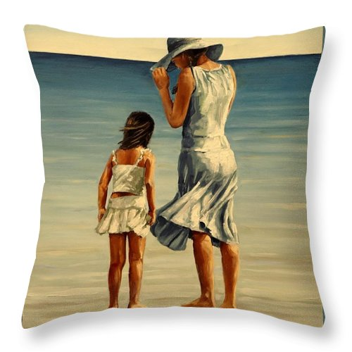 Figurative Throw Pillow featuring the painting Mother And Daughter IIi by Natalia Tejera