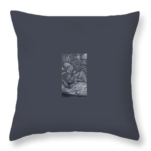 Mother Taking Care Of Child Throw Pillow featuring the painting Mother And Son by Andrew Johnson