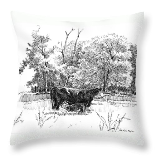 Landscape Throw Pillow featuring the drawing Mother And Son by Peter Muzyka
