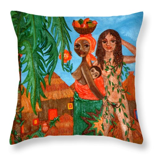 Mother Throw Pillow featuring the painting Mother Black Mother White by Madalena Lobao-Tello