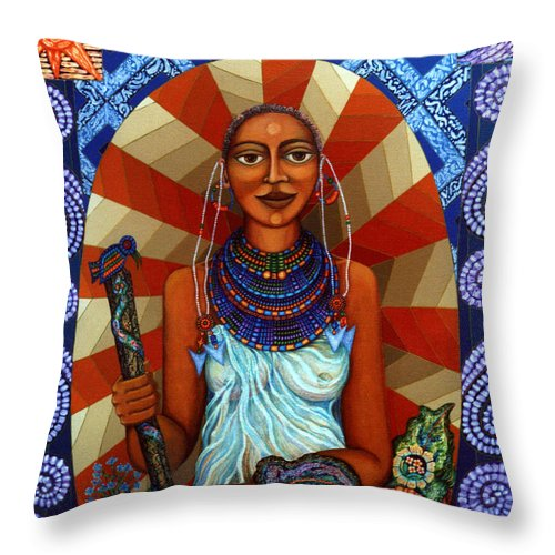 Mother Earth Throw Pillow featuring the painting Mother Earth by Madalena Lobao-Tello