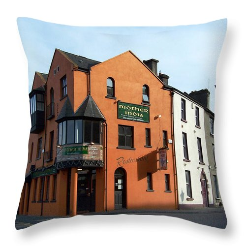 Ireland Throw Pillow featuring the photograph Mother India Restaurant Athlone Ireland by Teresa Mucha
