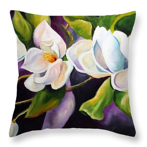 Magnolia Flower Throw Pillow featuring the painting Mother by Laurie Pace