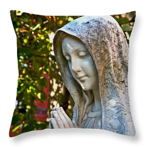 Mother Mary Throw Pillow featuring the photograph Mother Mary by Donna Shahan