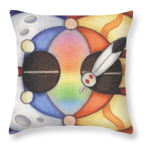 Native Throw Pillow featuring the drawing Mother Moon Father Sun by Amy S Turner