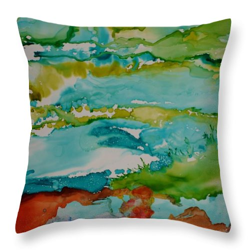 Wave Throw Pillow featuring the mixed media Mother Ocean by Susan Kubes
