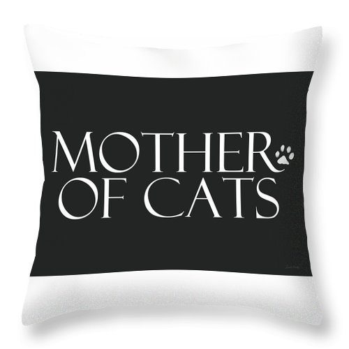 Cat Throw Pillow featuring the digital art Mother Of Cats- By Linda Woods by Linda Woods