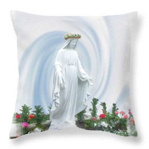The Virgin Mary Throw Pillow featuring the photograph Mother Of Peace by Rose Guay