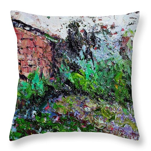 Garden Paintings Throw Pillow featuring the painting Mother by Seon-Jeong Kim