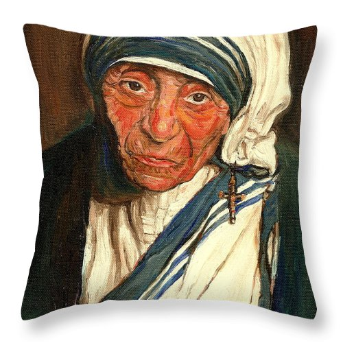 Mother Teresa Throw Pillow featuring the painting Mother Teresa by Carole Spandau
