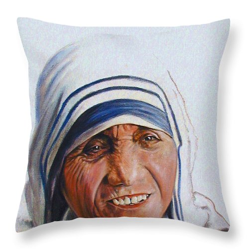 Mother Teresa Throw Pillow featuring the painting Mother Teresa by John Lautermilch