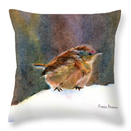 Wren Throw Pillow featuring the painting Mother Wren by Pamela Parsons
